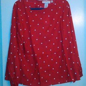 Womens Red and white Polka dot Blouse